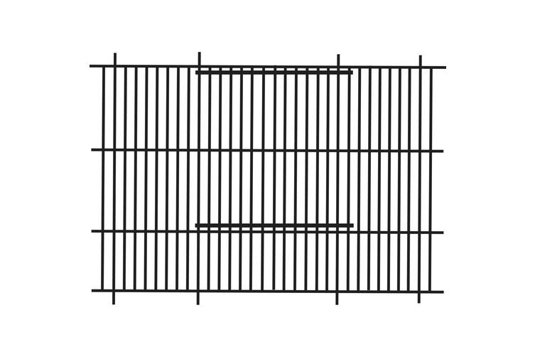 Barred Finch Cage Front (Black) (51 x 30cm)