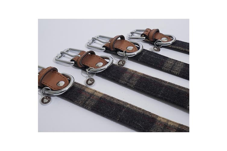 Luxury Leather Dog Collar (Tweed Check) (20-24in)