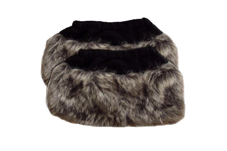 Womens/Ladies Faux Fur Boot Toppers (1 Pair) (Grey) (One Size)