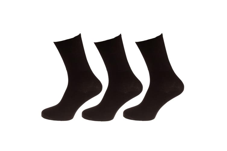 Universal Textiles Womens/Ladies Bamboo Diabetic Wellness Socks (3 Pairs) (Black) (4-8 UK)