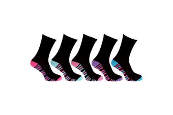 CottoniQue Womens/Ladies Coloured Striped Socks (Pack Of 5) (Black/Assorted Stripes) (4-8 UK)