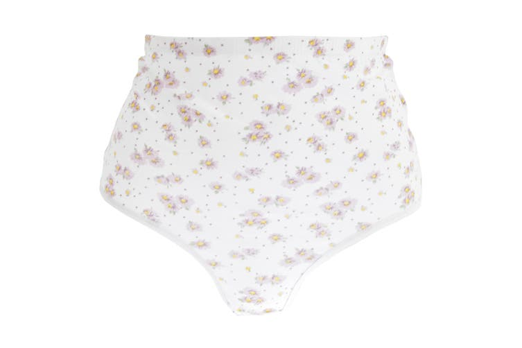 Passionelle Womens/Ladies Floral Tunnel Elastic Cotton Briefs (Pack Of 3) (White/Floral) (50-52in)