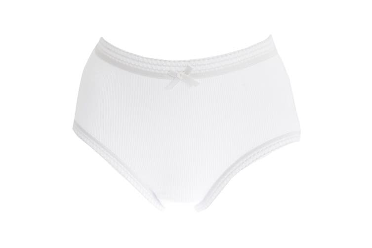 Passionelle Womens/Ladies Ribbed White Cotton Briefs (Pack Of 3) (White) (38-40in)
