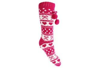 Slumberzz Womens/Ladies Fluffy Festive Slipper Socks (Pink) (One size)