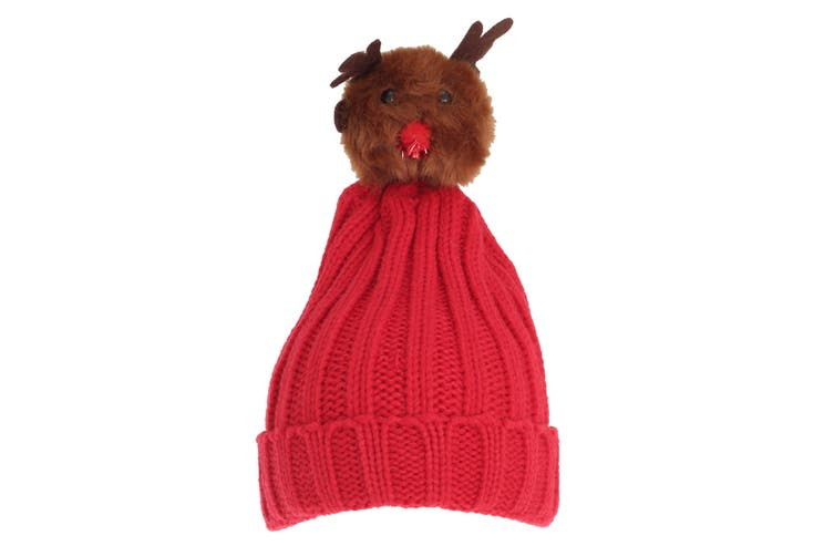 Foxbury Womens/Ladies Christmas Rudolph Knitted Hat (Red) (One Size)