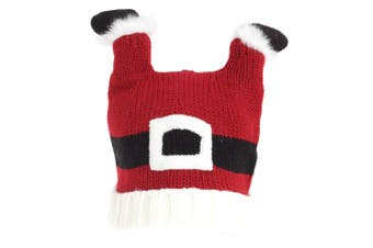 Adults Unisex Christmas Santa Feet Knitted Hat (Red/White) (One Size)