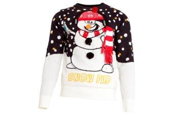 Brave Soul Mens Light Up 3D Snowman Knitted Christmas Jumper (Navy/White) (Small)