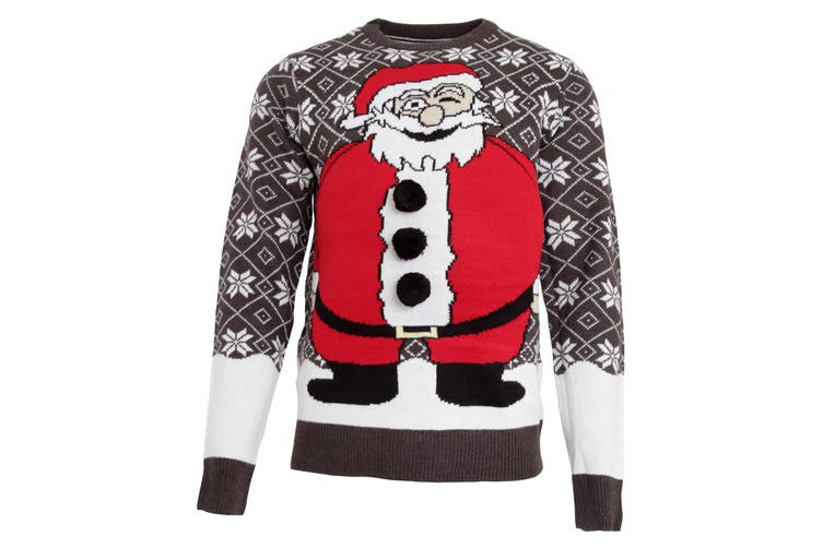 Brave Soul Mens Padded Belly Santa Knitted Christmas Jumper (Charcoal/Red) (Small)