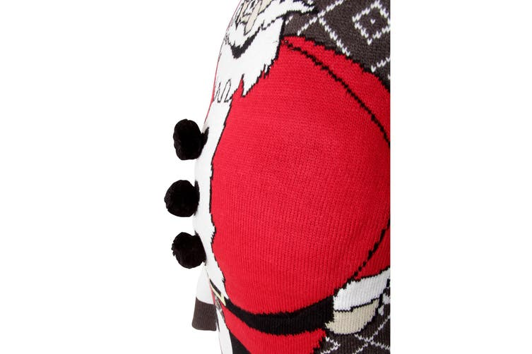Brave Soul Mens Padded Belly Santa Knitted Christmas Jumper (Charcoal/Red) (Medium)
