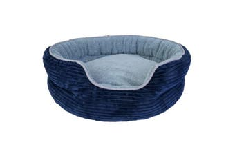 Yours Droolly Indoor Osteo Round Dog Bed Blue small
