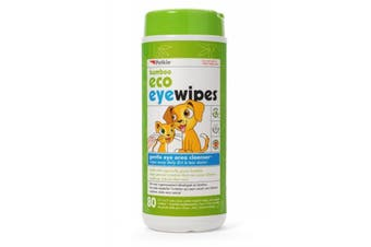 Bamboo Eco Pet Eyewipes for Dogs Cats Gentle Eye Cleaner Petkin 80 Wipes