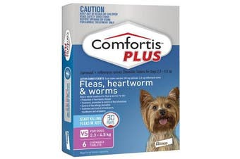 Comfortis PLUS for Dogs 2.3-4.5 kgs - 6 Chewables - Pink - Flea & Heartworm Tablets