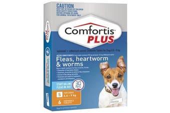 Comfortis PLUS for Dogs 4.6-9 kgs - 6 Chewables - Orange - Flea & Heartworm Tablets