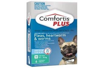 Comfortis PLUS for Dogs 9.1-18 kgs - 6 Chewables - Green - Flea & Heartworm Tabl