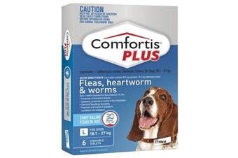 Comfortis PLUS for Dogs 18.1-27 kgs - 6 Chewables - Blue - Flea & Heartworm Tablets