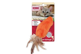 KONG Catnip Refillable Feather Top Carrot Cat Toy