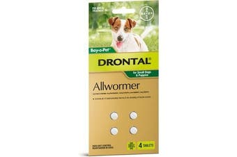 Drontal All Wormer Tablets for Puppies & Small Dogs up to 3kgs - 4 pack (Bayer)
