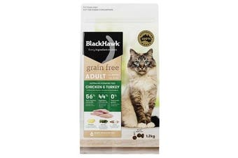 Black Hawk Grain Free 1.2kg Chicken & Turkey Cat Food - Adult Felines