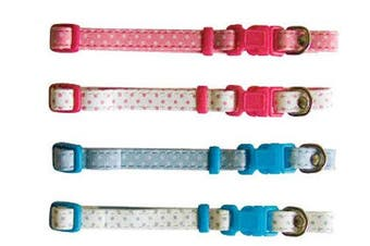 Beau Pets 30cm Pink on White Puppy Spot Adjustable Collar
