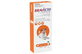 Bravecto SPOT-ON for Small Dogs 4.5-10kg - Orange (6 Months)