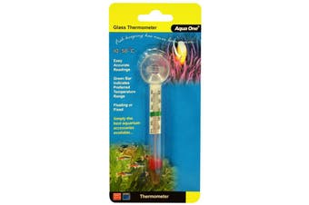 Aqua One Glass Thermometer for Aquariums with Suction Cap