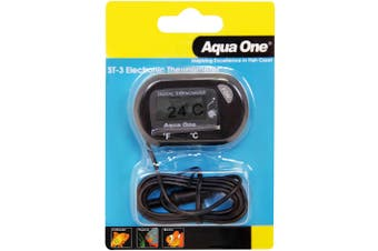 Aqua One LCD Electronic Aquarium Thermometer for Outside of Fish Tanks