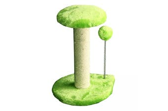 Cat Scratching Tree Post With Platform & Spring Ball - 20x20x29cm (green) (Pet One)