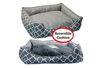 Pet One Large Imperial Grey Merle Rectangular Pet Bed for Dog & Cat 75x65x18.5cm