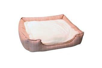 Pet One Medium Squares Rose Pink Rectangular Soft Pet Bed Dog & Cat 65x55x17.5cm