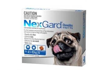 NexGard Flea & Tick Tablets for Dogs 4.1-10kg - 6 Pack (Blue) Chewable Tablets