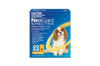 NexGard SPECTRA Flea, Tick & Heartworm for Dogs 3.6-7.5kg - Yellow - 6 Pack