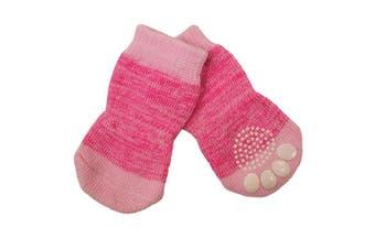 Pink Small Non-Slip Dog Socks - Pack of 4 Pet Socks (2.5x6cm) S