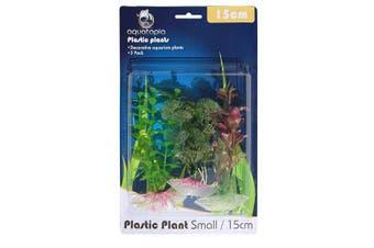 Natural Colour Plastic Aquarium Plants - Pack of 3 - 15cm (Aquatopia)
