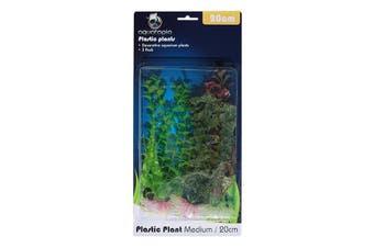 Natural Colour Plastic Aquarium Plants - Pack of 3 - 20cm (Aquatopia)