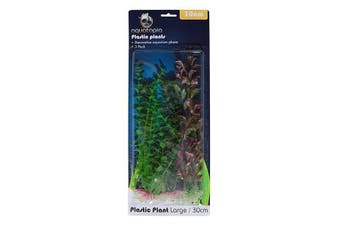 Natural Colour Plastic Aquarium Plants - Pack of 3 - 30cm (Aquatopia)