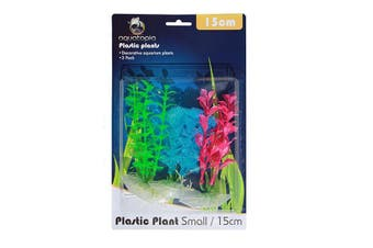 Neon Colour Plastic Aquarium Plants - Pack of 3 - 15cm (Aquatopia)