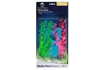 Neon Colour Plastic Aquarium Plants - Pack of 3 - 20cm (Aquatopia)