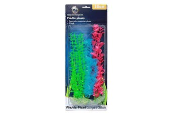 Neon Colour Plastic Aquarium Plants - Pack of 3 - 30cm (Aquatopia)