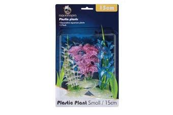 Pearl Colour Plastic Aquarium Plants - Pack of 3 - 15cm (Aquatopia)