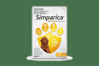 Simparica 1.3-2.5kg XXS Dog 3's (Yellow)