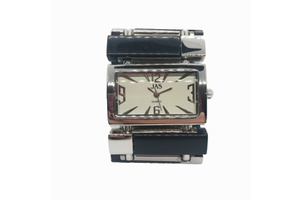 Black and silver lady watch