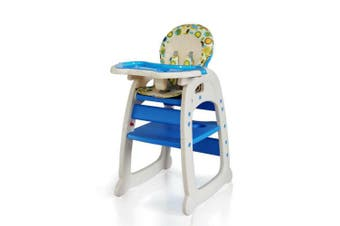 3 in 1 High Chair Highchair Convertible Play Table Conversion Seat - Blue