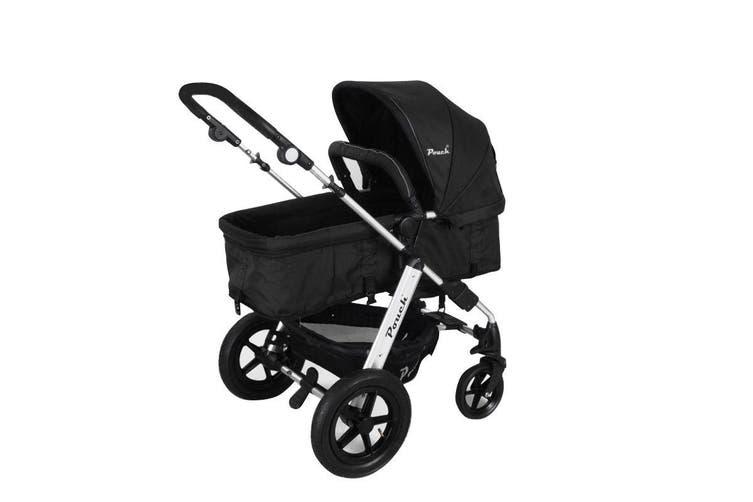 NEW 2 IN 1 BABY TODDLER PRAM STROLLER JOGGER ALUMINIUM WITH BASSINET - Black