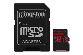KINGSTON  Canvas React: MicroSD 128GB , 100MB/s read and 70MB/s write with SD adapter  SDCR/128GB