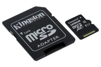 KINGSTON  Canvas Select:MicroSD 128GB , 80MB/s read and 10MB/s write with SD adapter SDCS/128GB