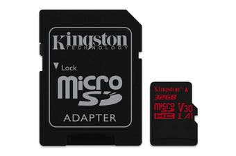 KINGSTON Canvas React: MicroSD 32GB , 100MB/s read and 70MB/s write with SD adapter  SDCR/32GB