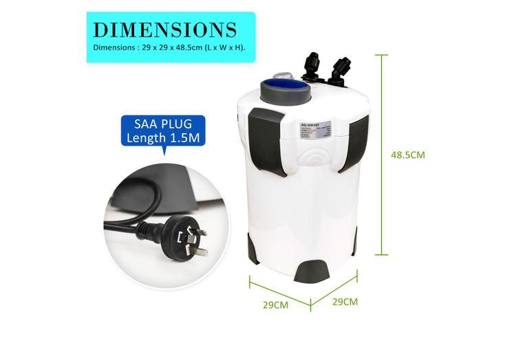 2000L/H UV Light Aquarium Canister Filter + Media Kit
