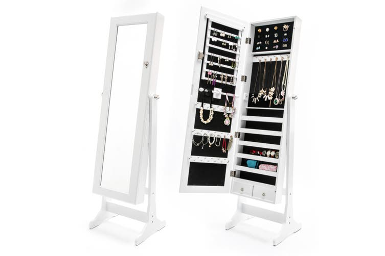 131cm Mirror Jewellery Cabinet 2X Drawer LOWE - WHITE