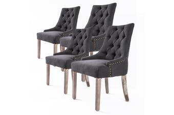 4X French Provincial Oak Leg Chair AMOUR - BLACK