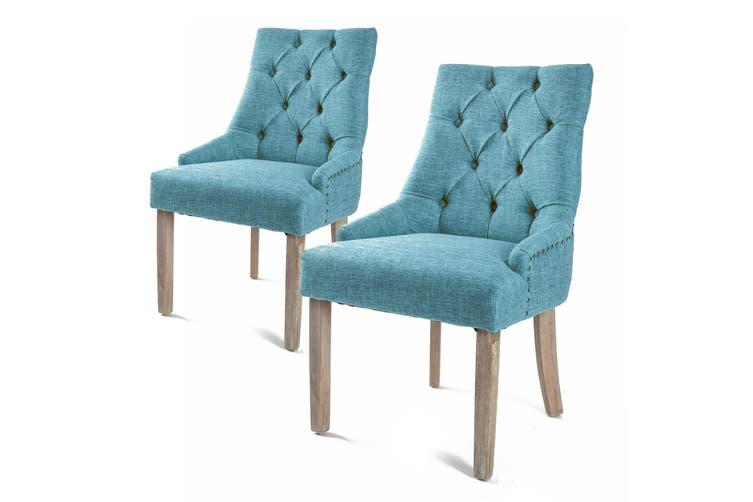2X French Provincial Oak Leg Chair AMOUR - BLUE